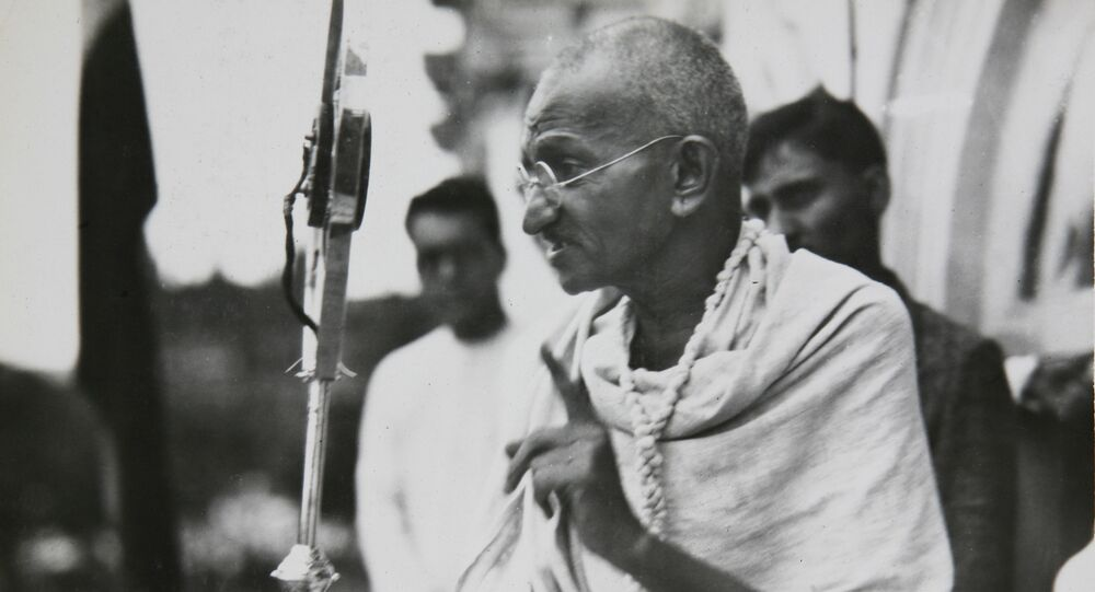 Mahatma Gandhi in a photo from a period album collected by AP reporter James A. Mills, ca. 1931.