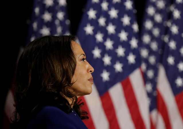 Democratic vice presidential candidate Senator Kamala Harris looks on at a campaign event, on her first joint appearance with presidential candidate and former Vice President Joe Biden after being named by Biden as his running mate, at Alexis Dupont High School in Wilmington, Delaware, U.S., August 12, 2020.