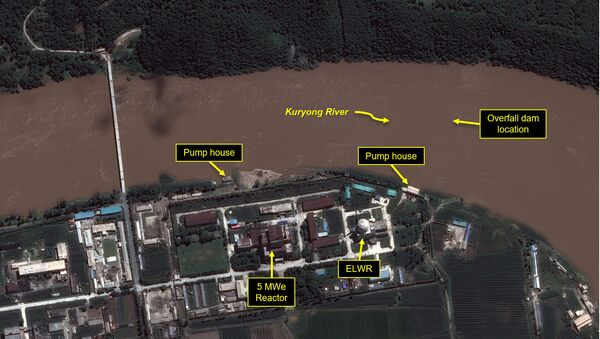 A view of the Yongbyon Nuclear Scientific Research Center shows flooding along the bank of the Kuryong River in Yongbyon, North Korea, August 6, 2020. - Sputnik International