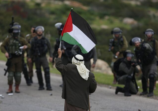 A Palestinian demonstrator holds a national flags in front of Israeli forces as they protest against President Donald Trump's Mideast initiative, in Jordan Valley in the West Bank, Tuesday, Feb. 25, 2020