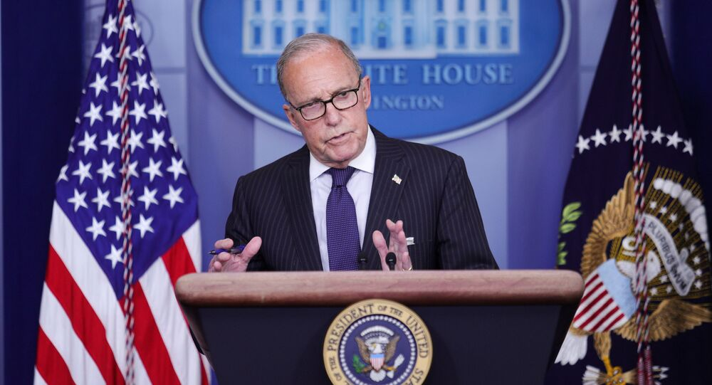 White House economic advisor Larry Kudlow addresses a press briefing on the U.S. economy and new U.S. employment and unemployment numbers in the Brady Press Briefing Room at the White House in Washington, U.S., July 2, 2020.