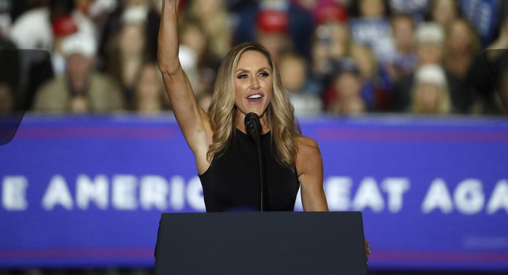 Lara Trump speaks at a campaign rally for President Donald Trump in Washington Township, Michigan, Saturday, 28 April 2018.