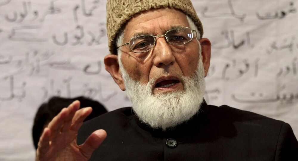 Pro-Pakistan separatist leader Syed Ali Shah Geelani addresses a press conference in Srinagar, India, Wednesday, April 28, 2010