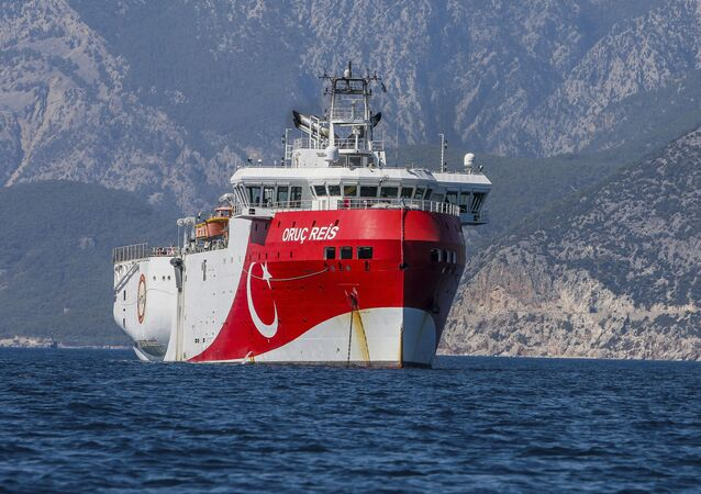 A Turkish research vessel, the Oruc Reis, anchored off the coast of Antalya on the Mediterranean, Turkey, 24 July 2020.