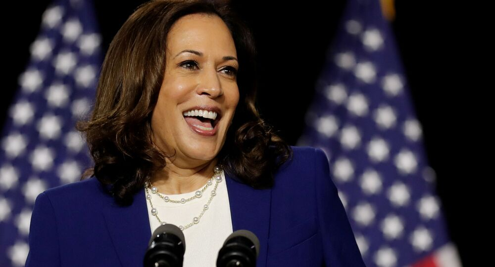 Democratic vice presidential candidate Senator Kamala Harris speaks at a campaign event, on her first joint appearance with presidential candidate and former Vice President Joe Biden after being named by Biden as his running mate, at Alexis Dupont High School in Wilmington, Delaware, U.S., August 12, 2020