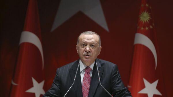 Turkey's President Recep Tayyip Erdogan addresses his party members, in Ankara, Turkey, Thursday, Aug. 13, 2020 - Sputnik International