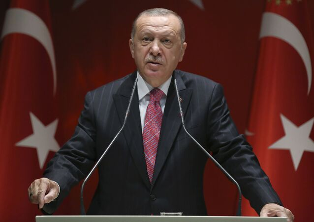 Turkey's President Recep Tayyip Erdogan addresses his party members, in Ankara, Turkey, 13 August 2020