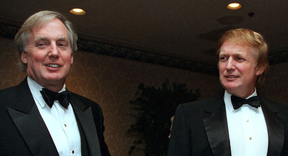 Robert Trump, left, joins real estate developer and presidential hopeful Donald Trump at an event