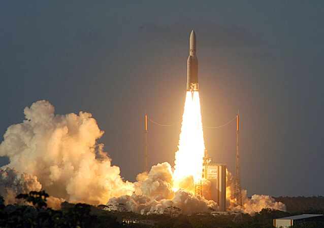 This image provided by the European Space Agency (ESA) shows the European rocket Ariane 5 ECA lifting off in Kourou, French Guiana, carrying a payload of precious satellites, Saturday Feb.12, 2005. The launch of europe's most powerful rocket was successful, more than two years after its inaugural flight in disaster