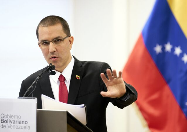 Venezuela's Foreign Minster Jorge Arreaza speaks during a press conference after visiting the International Criminal Court in The Hague, Netherlands, Thursday, Feb. 13, 2020.