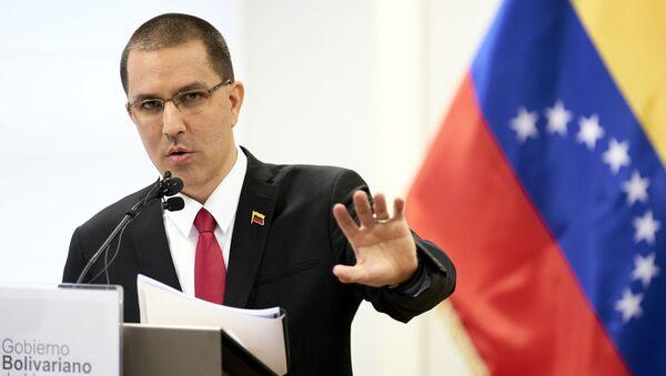Venezuela's Foreign Minster Jorge Arreaza speaks during a press conference after visiting the International Criminal Court in The Hague, Netherlands, Thursday, Feb. 13, 2020. - Sputnik International