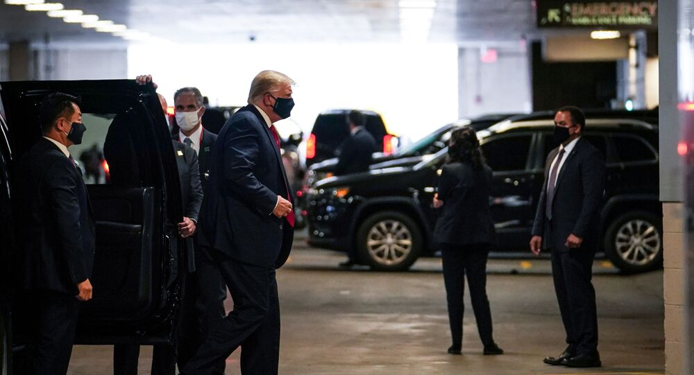 U.S. President Donald Trump arrives at the New York Presbyterian Hospital to visit his younger brother Robert Trump in New York City, U.S., August 14, 2020.