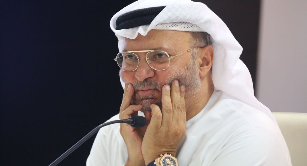 Emirati Minister of State for Foreign Affairs Anwar Gargash attends a news conference on Yemen in Dubai, United Arab Emirates, Monday, Aug. 13, 2018.