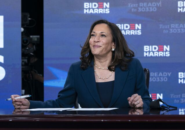 Democratic presidential candidate former Vice President Joe Biden's running mate Sen. Kamala Harris, D-Calif., looks up as she signs required documents for receiving the Democratic nomination for President and Vice President of the United States in Wilmington, Del., Friday, Aug. 14, 2020