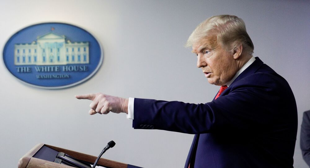 U.S. President Donald Trump takes questions during a news conference in the Brady Press Briefing Room at the White House in Washington, U.S., August 14, 2020.