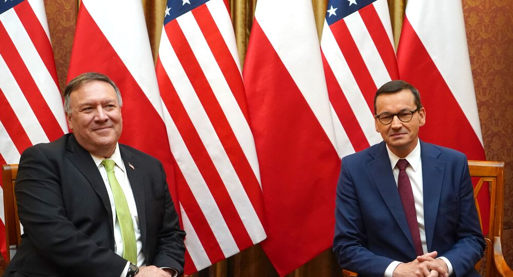 US Secretary of State Mike Pompeo (L) and Polish Prime Minister Mateusz Morawiecki pose for medias prior a meeting at the Chancellery in Warsaw, Poland, on August 15, 2020.