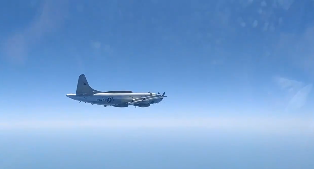 US Navy EP-3E Aries II filmed from the cockpit of the Russian Sukhoi Su-27 fighter jet sent to intercept it, Saturday, August 15, 2020.