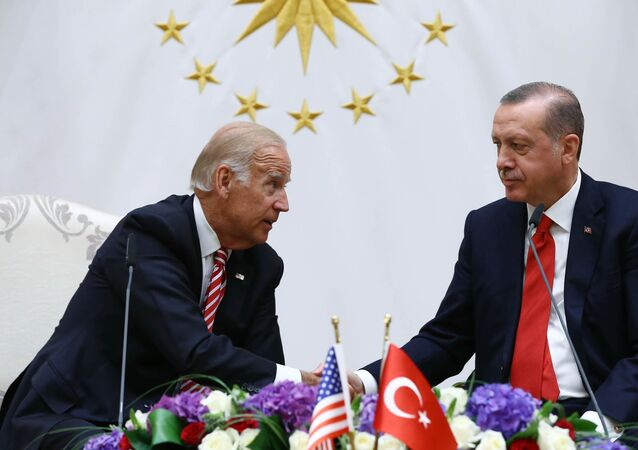 U. S. Vice President Joe Biden, left, and Turkish President Recep Tayyip Erdogan shake hands after a meeting in Ankara, Turkey, Wednesday, Aug. 24, 2016.