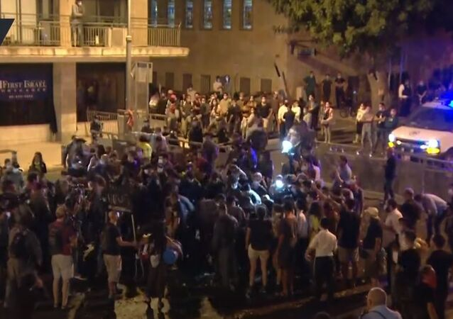 Protests in Jerusalem on 15 August 2020 against Israeli Prime Minister Benjamin Netanyahu