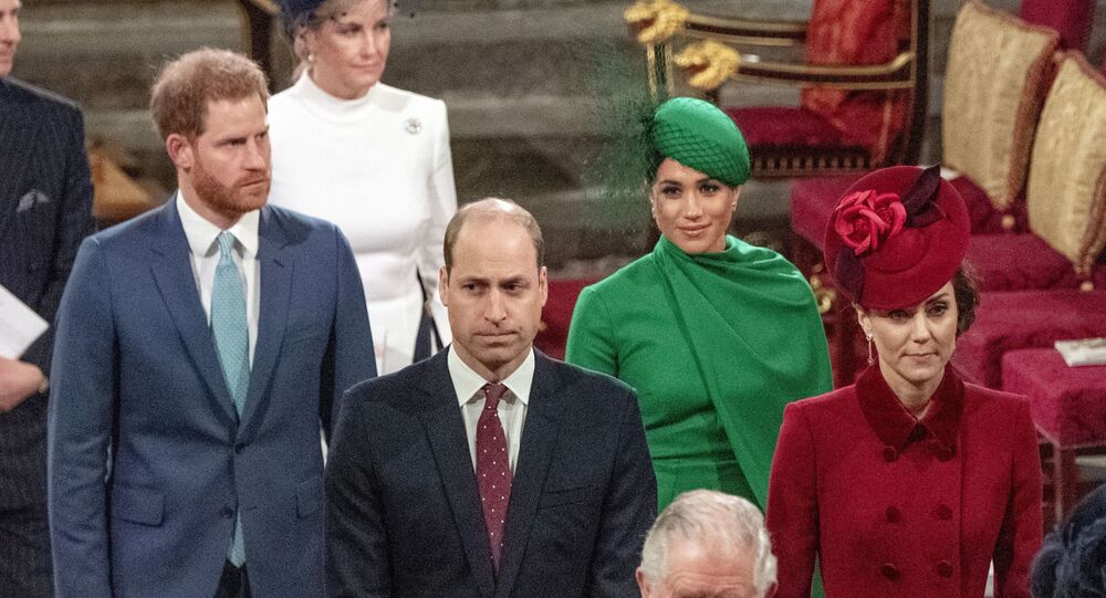 In this Monday, 9 March 2020 file photo, from left, Britain's Prince Harry, Prince William, Meghan, Duchess of Sussex and Kate, Duchess of Cambridge leave the annual Commonwealth Service at Westminster Abbey in London.