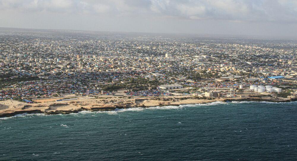 This aerial view taken on September 19, 2019 shows Somalia's capital Mogadishu.