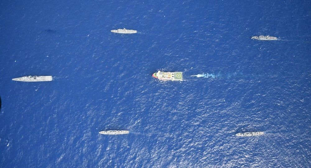 Turkish seismic research vessel Oruc Reis is escorted by Turkish Navy ships as it sets sail in the Mediterranean Sea, off Antalya, Turkey, August 10, 2020. Picture taken August 10, 2020