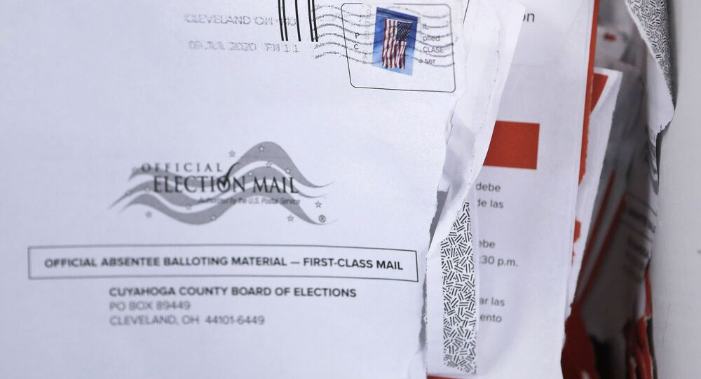 Applications for voter ballots are seen at the Cuyahoga County Board of Elections Tuesday, July 14, 2020, in Cleveland