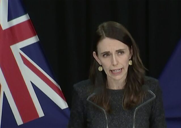 In this image from a video, New Zealand Prime Minister Jacinda Ardern speaks at a news conference in Wellington, New Zealand Tuesday, Aug. 11, 2020. Ardern said Tuesday that authorities have found four cases of the coronavirus in one Auckland household from an unknown source, the first reported cases of local transmission in the country in 102 days.