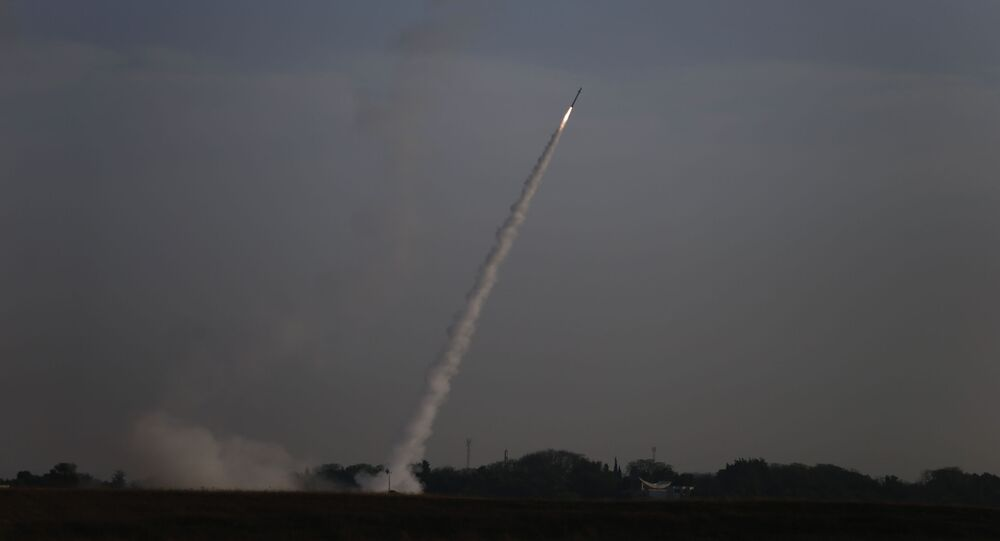 Israeli Iron Dome air defense system launches to intercept rocket fro Gaza Strip, near Israel and Gaza border, Sunday, May 5, 2019. Palestinian militants in the Gaza Strip on Sunday intensified a wave of rocket fire into southern Israel, striking towns and cities across the region while Israeli forces struck dozens of targets throughout Gaza, including militant sites that it said were concealed in homes or residential areas.