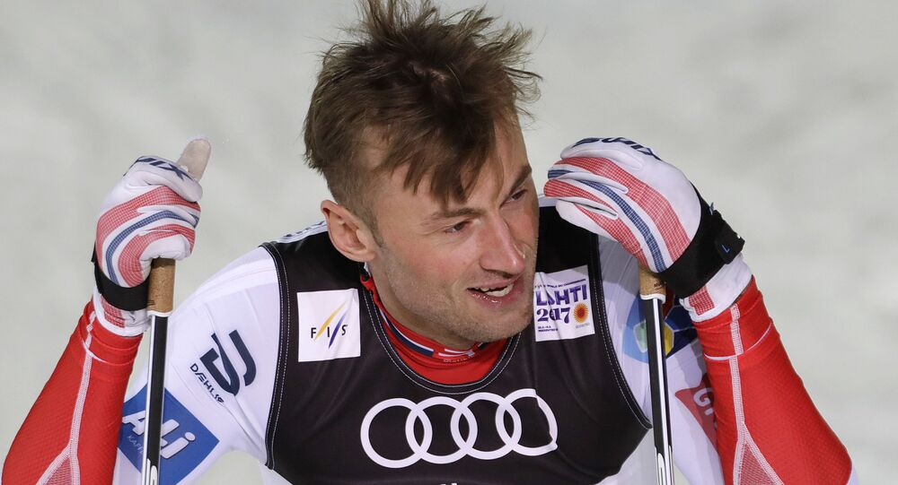Norway's Petter Northug reacts after the men's cross country sprint final at the 2017 Nordic Skiing World Championships in Lahti, Finland, Thursday, Feb. 23, 2017
