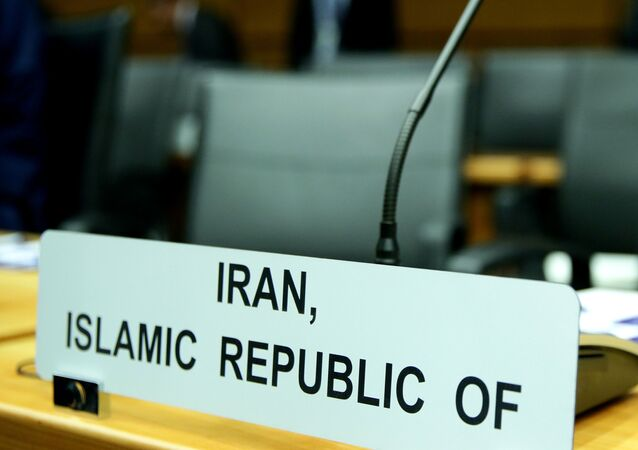 A sign marks the seat of Iran's ambassador to the International Atomic Energy Agency (IAEA) ahead of a board of governors meeting at the IAEA headquarters in Vienna, Austria March 9, 2020.