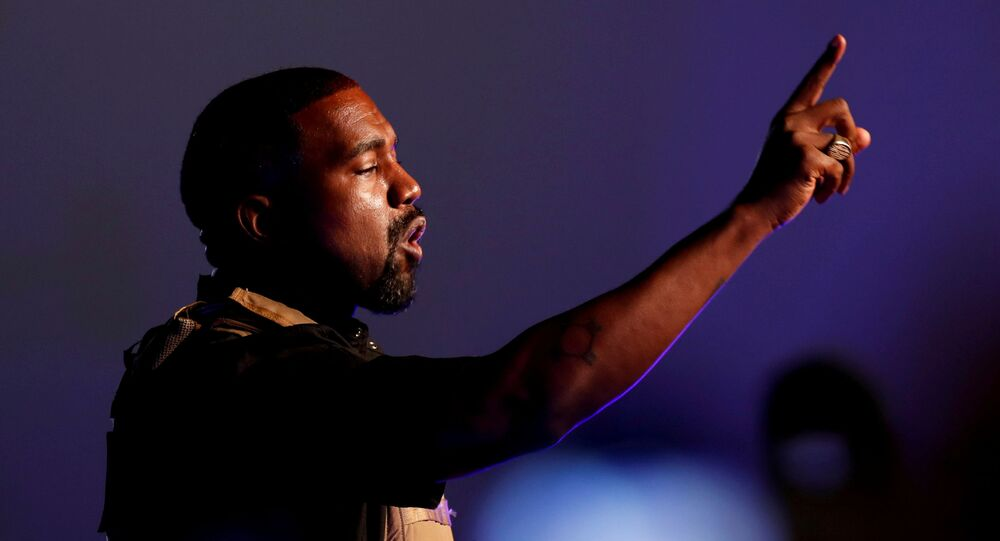 Rapper Kanye West makes a point as he holds his first rally in support of his presidential bid in North Charleston, South Carolina, U.S. July 19, 2020