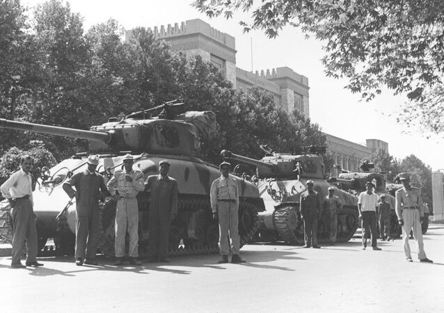 Iranian army troops and tanks during attempted coup d'etat against Iranian Premier Mohammad Mossadeq in Tehran in August 1953.