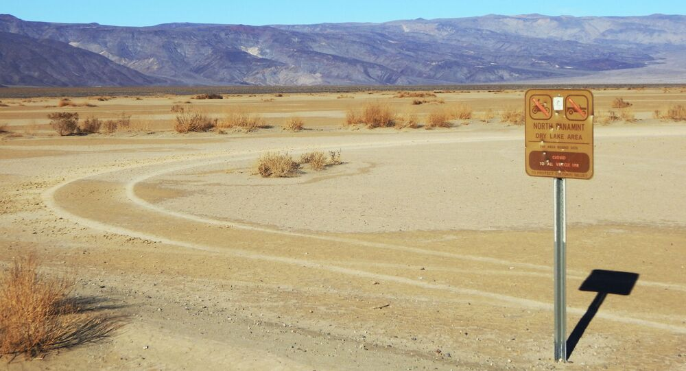 This undated photo provided by the U.S. National Park Service shows vehicle tracks beyond a sign banning vehicles in the North Panamint dry lake area during the recent federal government shutdown in an area of Death Valley National Park, Calif