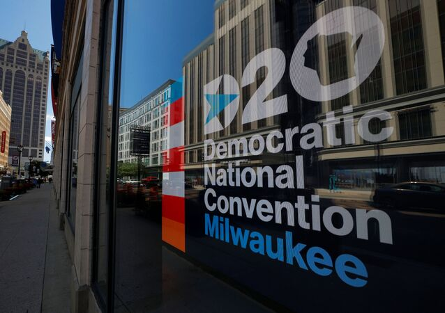 A sign advertises the Democratic National Convention (DNC), which will be a largely virtual event due to the coronavirus disease (COVID-19) outbreak, in Milwaukee, Wisconsin, U.S., August 16, 2020