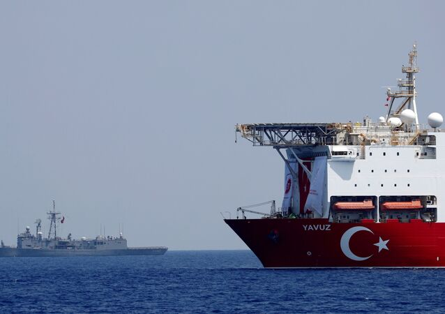 The Turkish drilling vessel Yavuz is seen being escorted by a Turkish Navy frigate in the eastern Mediterranean off Cyprus, August 6, 2019