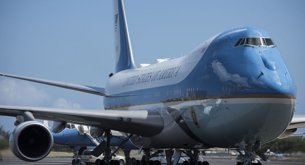 Air Force One refuels at Joint Base Pearl Harbor-Hickam, Hawaii, on President Donald Trump's return to Washington D.C. from the North Korea summit, June 12, 2018. (U.S. Air Force photo by Senior Airman Brittany A. Chase)