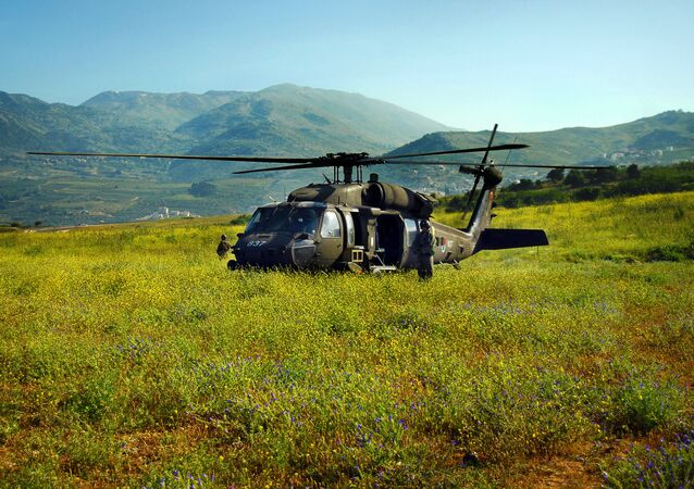 A Sikorsky UH-60 Black Hawk--an optimal helicopter for complex and difficult rescue and transport missions--lands in a Golan Heights field. The Black Hawk helicopter has high maneuverability and survivability, strong engines and high cargo-carrying capacity. The Black Hawk helicopter is also used by the Israeli Air Force to ferry Israeli defense and military officials.