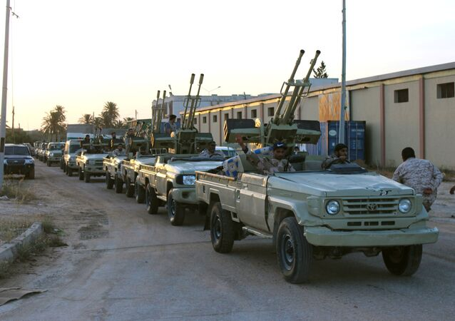 Military vehicles of members of the Libyan internationally recognised government forces in Misrata