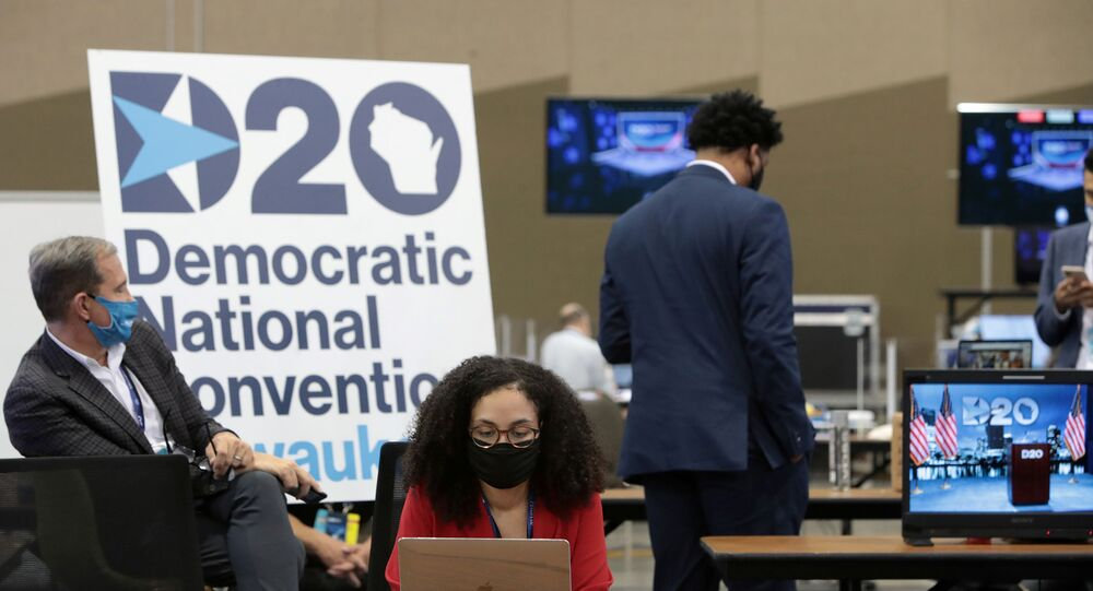 The control room where live feeds are managed is in operation for the first night of the virtual Democratic National Convention (DNC) at the Wisconsin Center in Milwaukee, Wisconsin, U.S. August 17, 2020