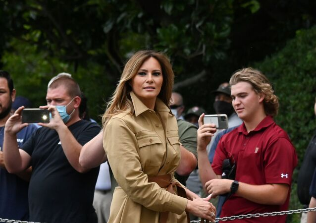 First Lady Melania Trump walks to the White House from Marine One in Washington, U.S. August 16, 2020