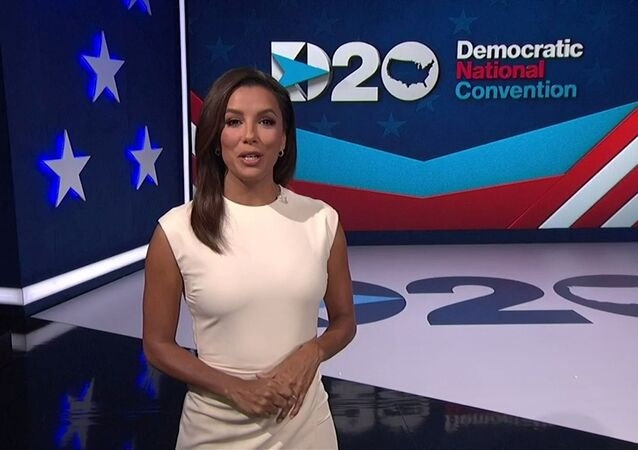 Actress Eva Longoria introduces the start of the 2020 Democratic National Convention in a frame grab from live video at the start of the all virtual convention as participants from across the country are hosted over video links from the originally planned site of the convention in Milwaukee, Wisconsin, U.S. August 17, 2020.