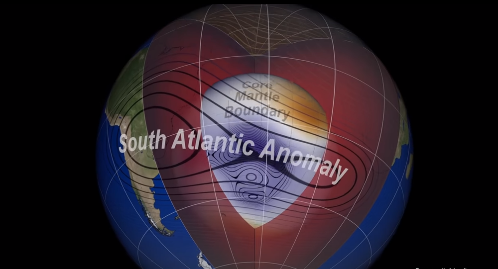 Screengrab of a NASA video on the splitting of the South Atlantic Anomaly.