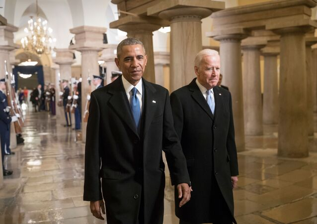 President Barack Obama and Vice President Joe Biden walk through the Crypt of the Capitol for Donald Trump?s inauguration ceremony, in Washington, Friday, Jan. 20, 2017.