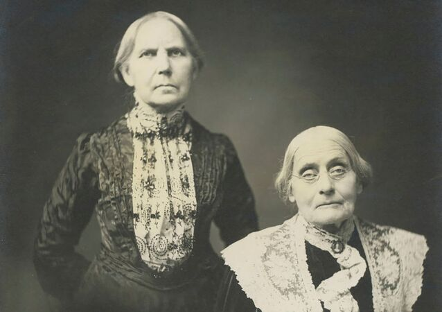 Women's suffrage activists Susan B. Anthony (R) and her sister Mary Anthony pose in an undated photograph taken on Susan's 85th birthday in 1905, a year before her death.