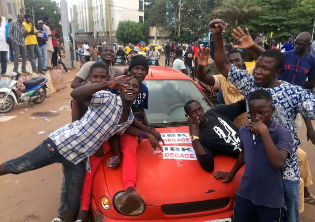 Opposition supporters at Independence Square in Bamako