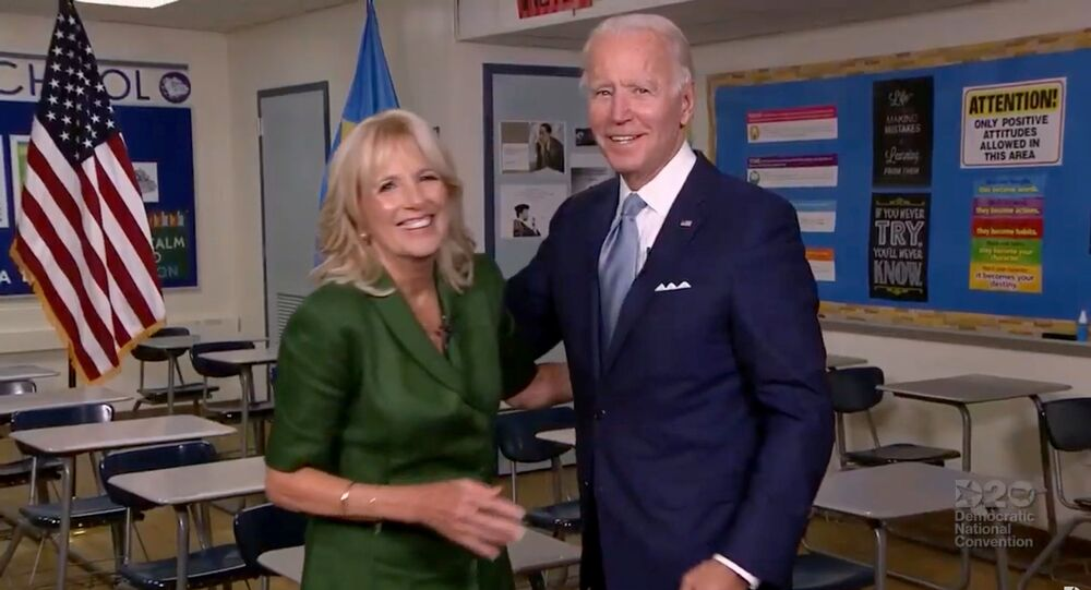 U.S. Democratic presidential candidate Joe Biden and his wife Jill Biden speak from Brandywine High School, where she taught English from 1991 to 1993, during the virtual 2020 Democratic National Convention as participants from across the country are hosted over video links from the originally planned site of the convention in Milwaukee, Wisconsin, U.S. August 18, 2020.