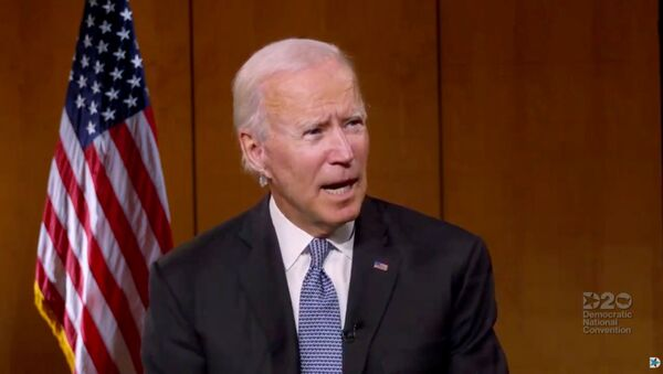 U.S. Democratic presidential candidate Joe Biden speaks to people about healthcare during the virtual 2020 Democratic National Convention as participants from across the country are hosted over video links from the originally planned site of the convention in Milwaukee, Wisconsin, U.S. August 18, 2020. - Sputnik International