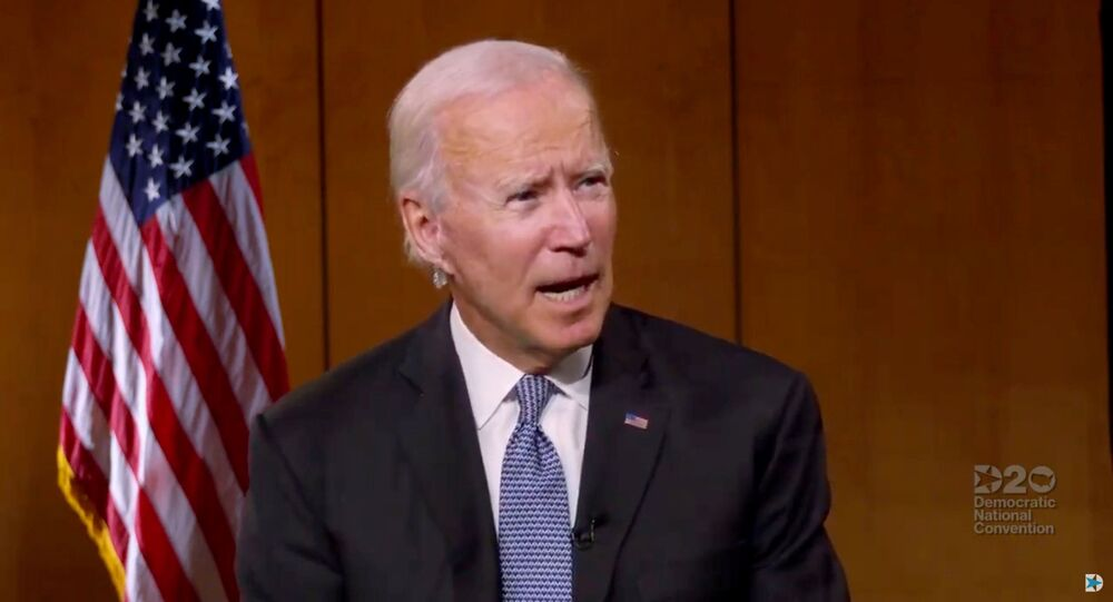 U.S. Democratic presidential candidate Joe Biden speaks to people about healthcare during the virtual 2020 Democratic National Convention as participants from across the country are hosted over video links from the originally planned site of the convention in Milwaukee, Wisconsin, U.S. August 18, 2020.
