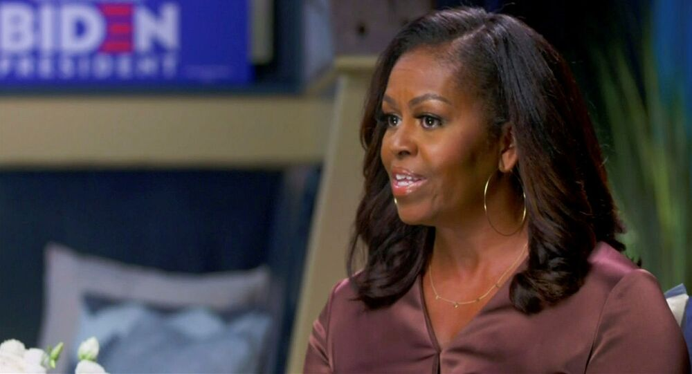 Former first lady Michelle Obama speaks in a frame grab from the live video feed of the all virtual 2020 Democratic National Convention as participants from across the country are hosted over video links to the originally planned site of the convention in Milwaukee, Wisconsin, U.S. August 17, 2020